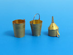 Two metal buckets and metal funnel.