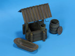 Wooden water well with wooden bucket, wooden barrel and cast iron bathtub