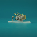 6 pcs USN 40 mm/56  Bofors quad mount ver. 3/with Mk-51 director,  resin, PE, brass barels