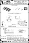 Curtiss P-40 E - N - details set - Browning .50 blast tubes, gunsight and Pitot Tube